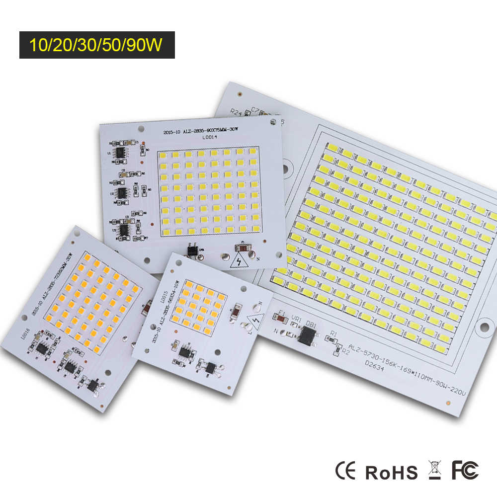 220V Led COB Chip Smart IC Chip SMD2835 SMD5730 Led Bulb Light 10W 20W 30W 50W 90W Floodlight Replace Chip Lighting CE ROHS