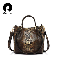 REALER Brand Women Genuine Leather Handbag Casual Shoulder Bag Female Gold Python Pattern Leather Tote Bag