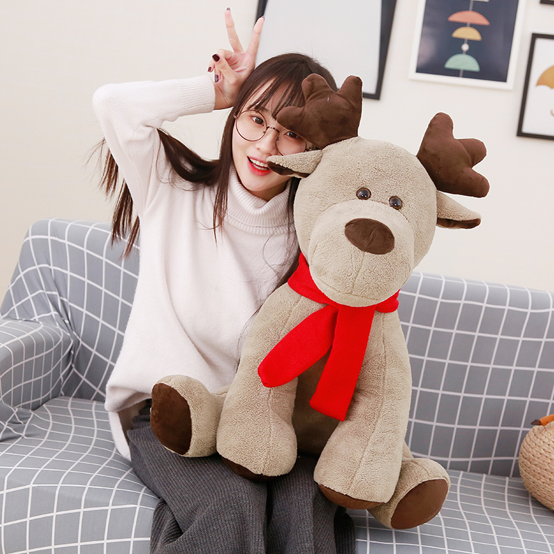 1pc 60cm Simulation Cute Christmas Elk Plush Toy Stuffed Soft Animal Deer Gift Doll for Kids Children Xmas Home Decor Ornaments stuffed animal 115 cm plush simulation lying tiger toy doll great gift w114