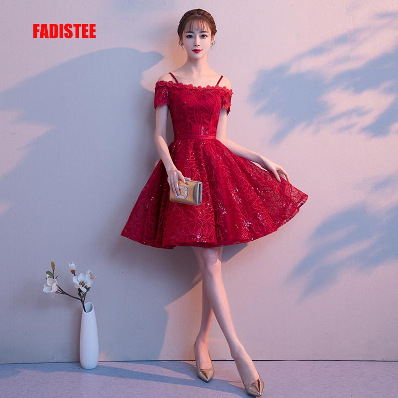 FADISTEE New design A-line short   dresses   boat-neck   cocktail   party   dress   festa lace elagant simple lace-up bling Burgundy frock