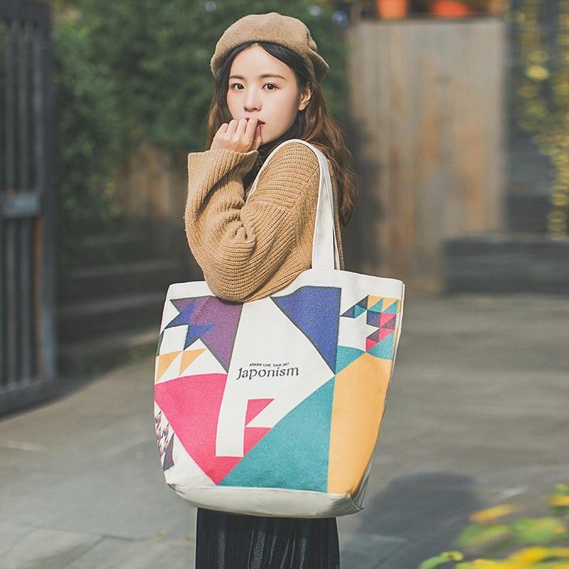 Woman Bag Single Shoulder Sail Bag Large Open Water Bucket Printing Geometric Pattern