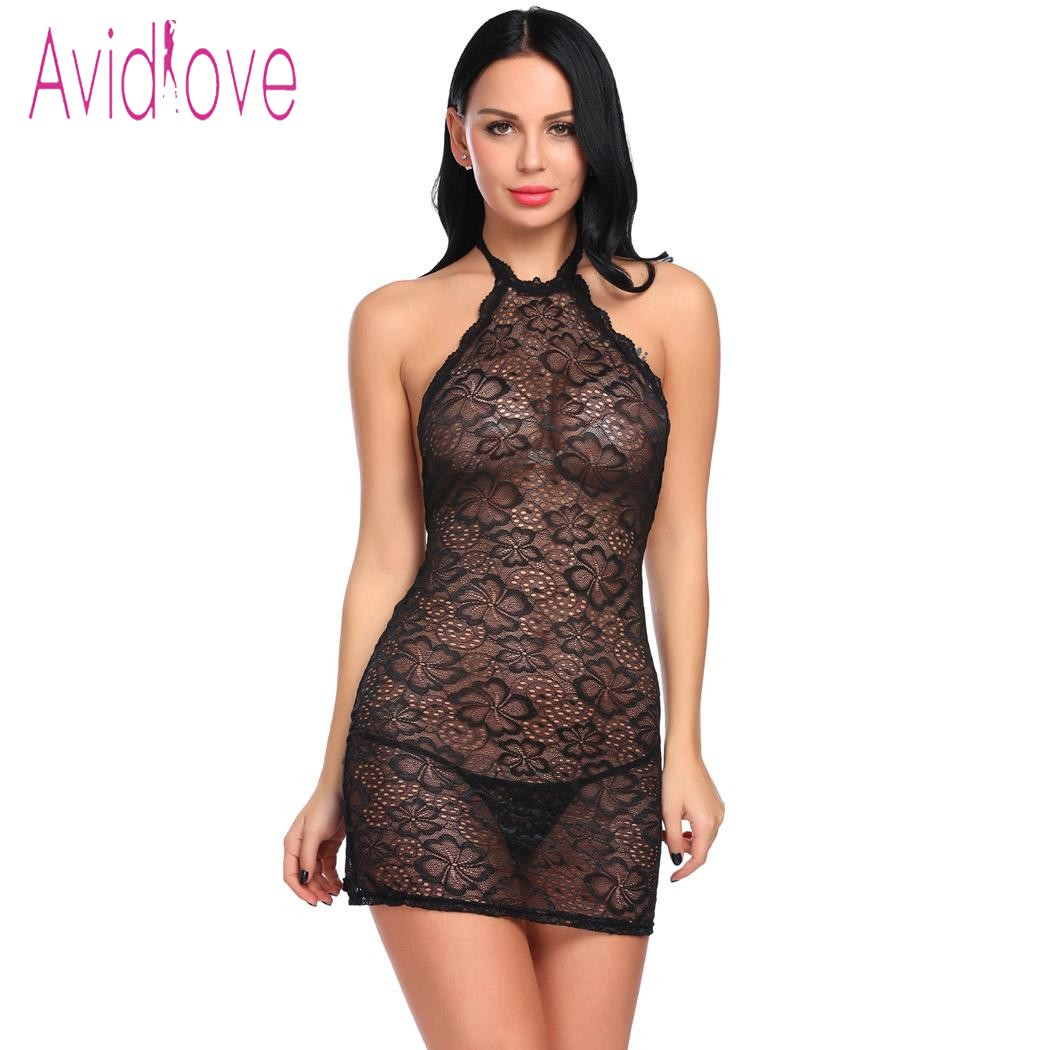 Avidlove <font><b>2018</b></font> New Lingerie Sexy Erotic Hot Bodydll Dress Women Halter Floral Sheer Lace Teddy Mesh Nightwear <font><b>Sex</b></font> Underwear image
