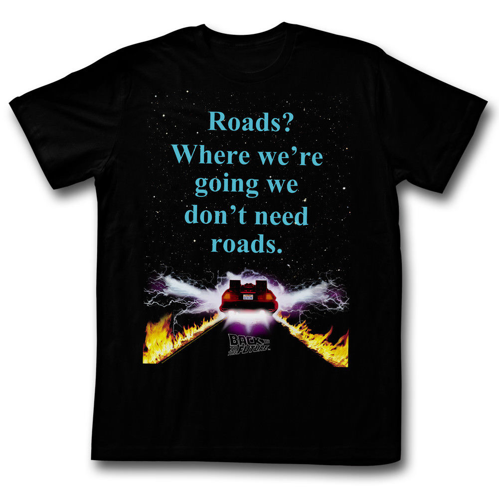 Back To The Future Movie No Roads Licensed Adult T Shirt