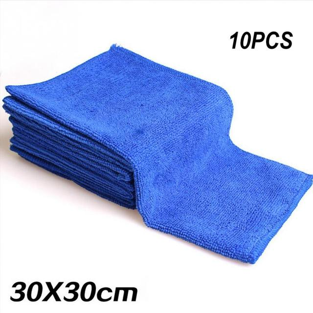 10Pcs/set Car Wash Microfiber Towel Car Cleaning Drying Cloth Soft Cloths Absorbent Quick Large Size Dry 30 X 30cm