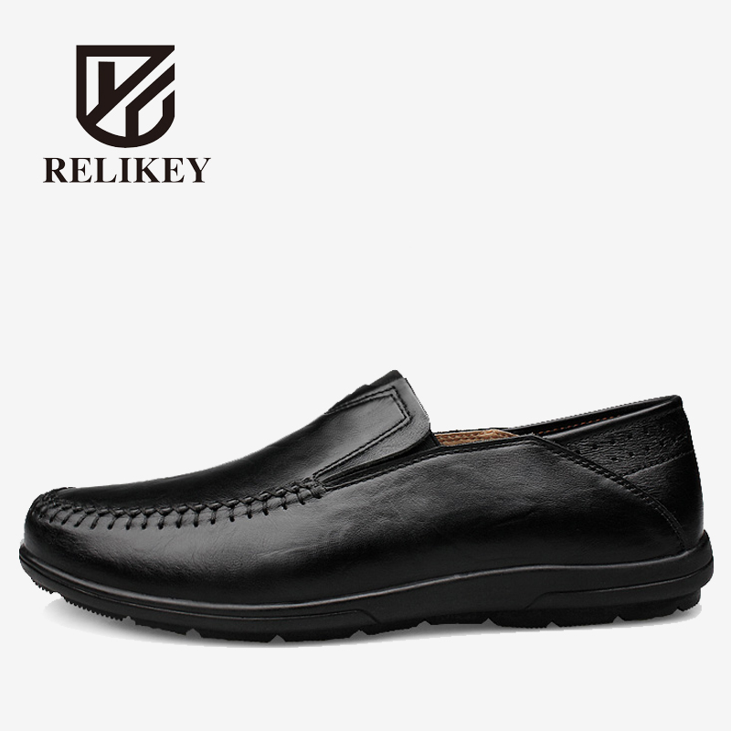 Men Loafers Full Grain Leather Autumn Driving Shoes Handmade Soft Cow Leather RELIKEY Brand Causal Moccasins Flats for Men cbjsho brand men shoes 2017 new genuine leather moccasins comfortable men loafers luxury men s flats men casual shoes
