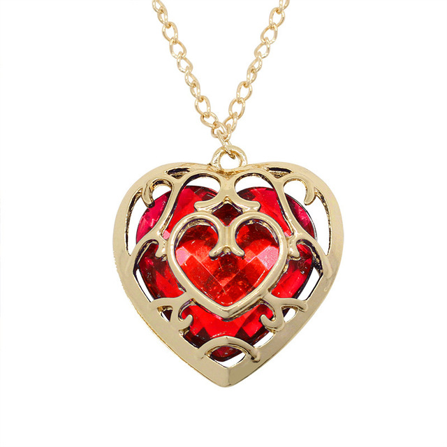 The Legend of Zelda Heart Shaped Gemstone Necklace