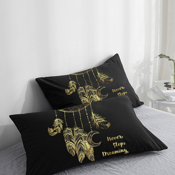 Custom Pillow Case Pillowcase 50x70 50x75 50x80 70x70 Decorative Pillow Cover golden feather on Black Bedding Drop Shipping image