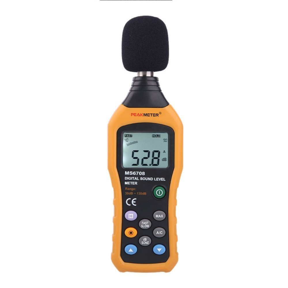 Sound Level Meter MS6708 PEAKMETER Digital  Noise dB Meter Measuring 30dB to 130dB nktech nk s1 digital lcd sound meter noise level 30 130db freq 31 5hz 8khz test sound level meter noise meter vs ms6708