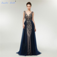 Sapphire Bridal Arabic Robe De Soiree Navy Blue Evening Dresses Abito Da Sera Sexy Backless Beaded Formal Dress Real Picture