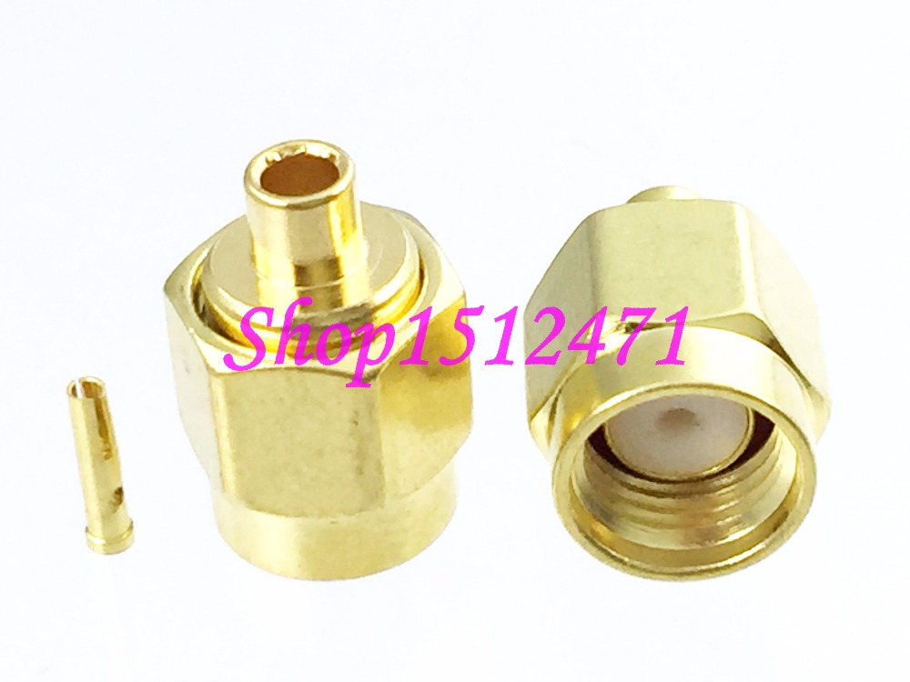 10pcs connector RP*SMA male jack semi-rigid RG405 0.086 straight