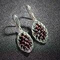 100% Real Pure 925 Sterling Silver classic Garnet earring for women Wholesale Fine Jewelry  women Jewelry Dangle Earrings