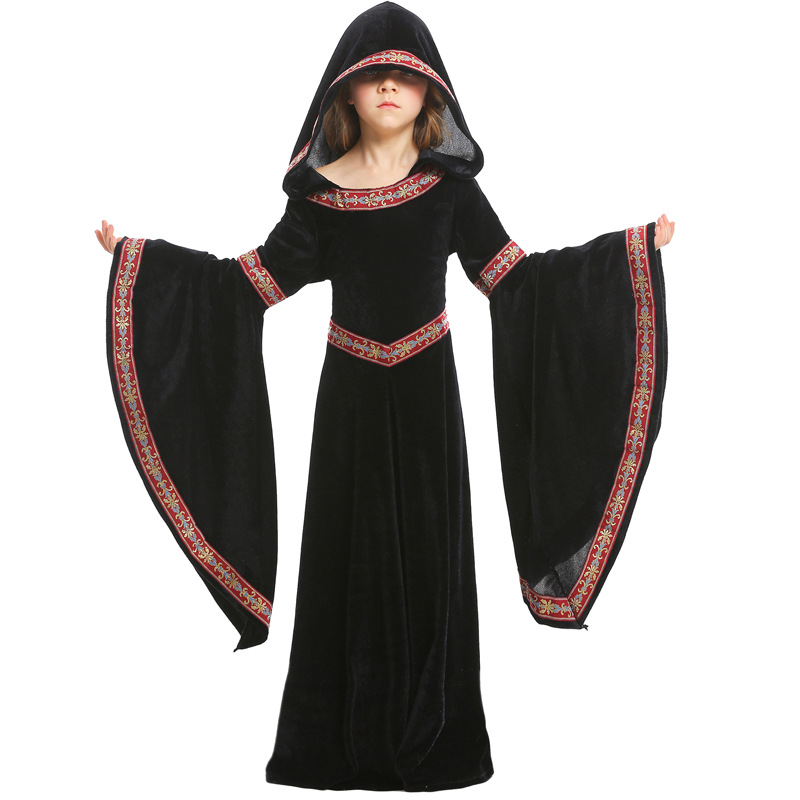 Image 2 - Umorden Kids Child Teen Girls Medieval Sorceress Pagan Witch Costume Gothic Velvet Hooded Dress Halloween Carnival Costumes-in Girls Costumes from Novelty & Special Use