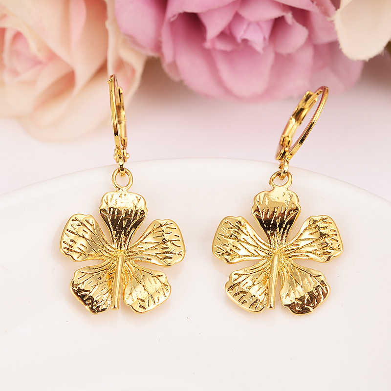 Ohrringe Für Frauen Mode Schmuck Gold Farbe afrikanische Arabischen Ohrringe Körper Schmuck Blume Anhänger als frauen mädchen kinder Geschenk