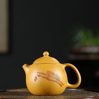 Full Manual Raw Ore Gold Section Clay Pot Infusion Of Tea Preserve One's Health Kettle Kungfu Online Teapot Tea Set Wholesale