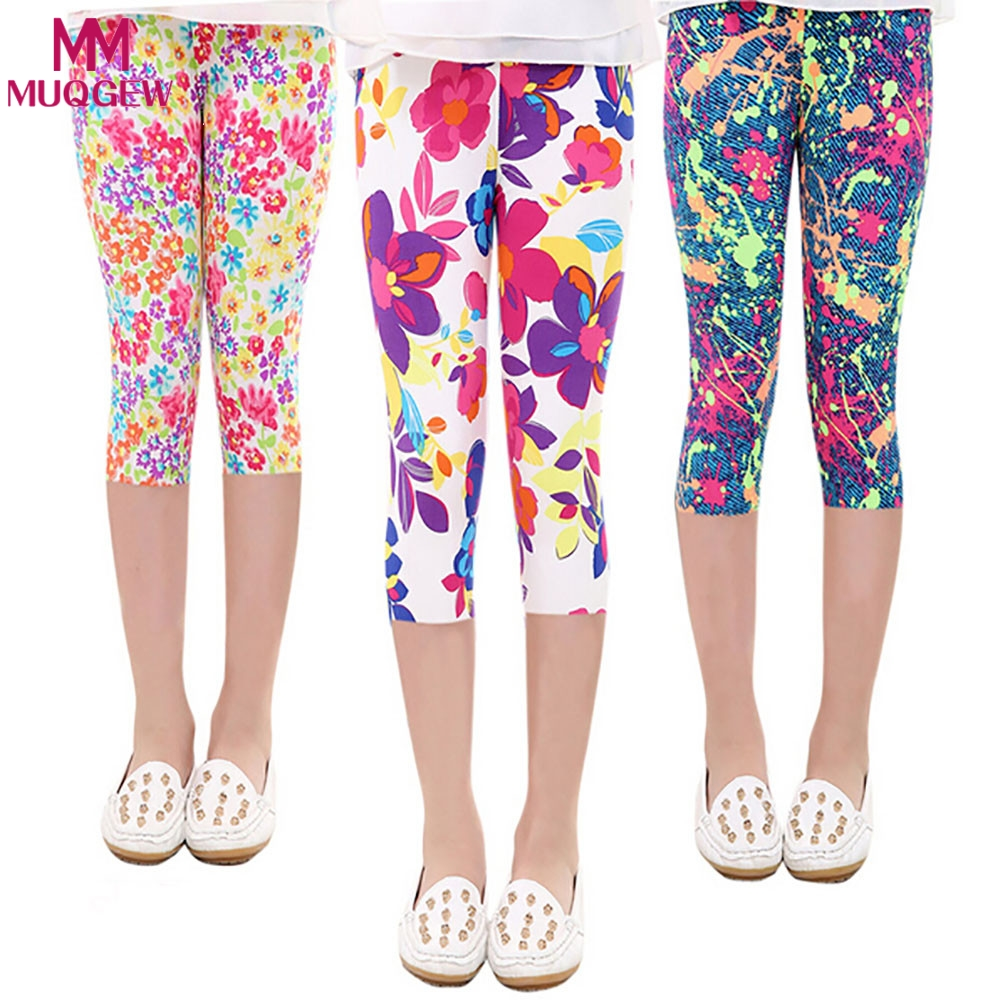 15cd23320f39ee Girls Girls Active Capris Leggings Baby Toddler Kid Floral Print Comfy  Children Cropped Calf Length Pants Tights Trousers