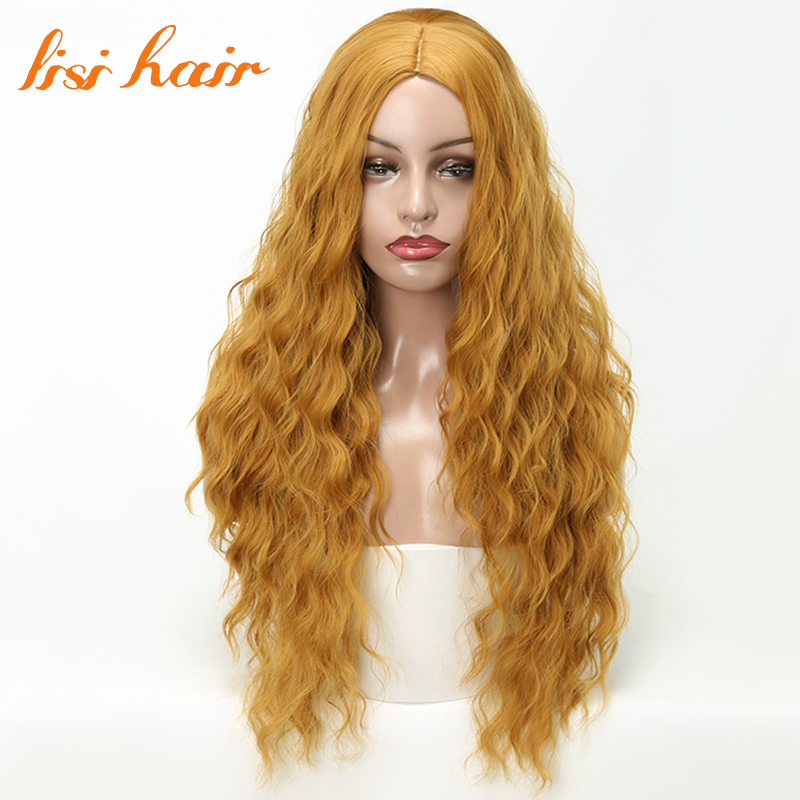 LISI HAIR 26inches Long Kinky wavy Wigs for black women blonde red black Synthetic wigs  ...