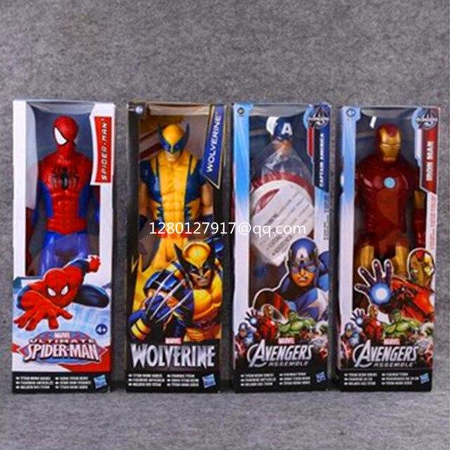 Homem De Ferro Avengers Superhero Guerra Infinito Venom Spider-Man Thor Capitão América Wolverine Action Figure Toy 30 CM CAIXA p177