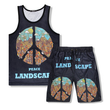 Print Two Piece Set Men Sleeveless Tank Top+Shorts Mens Tracksuits 2019 New 2 pieces set male Sportswear Tops Short Trousers
