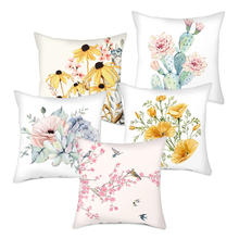 Fuwatacchi Flower Cushion Covers Rose Cactus Pillow for Home Sofa Chair Decorations Chrysanthemum Soft Pillowcases
