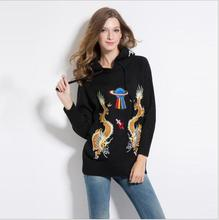 New 2017 High Women Ladies Cute Autumn Winter Luxury embroidery Dragon UFO Hollywood Casual Sweaters Pullover High quality #E173