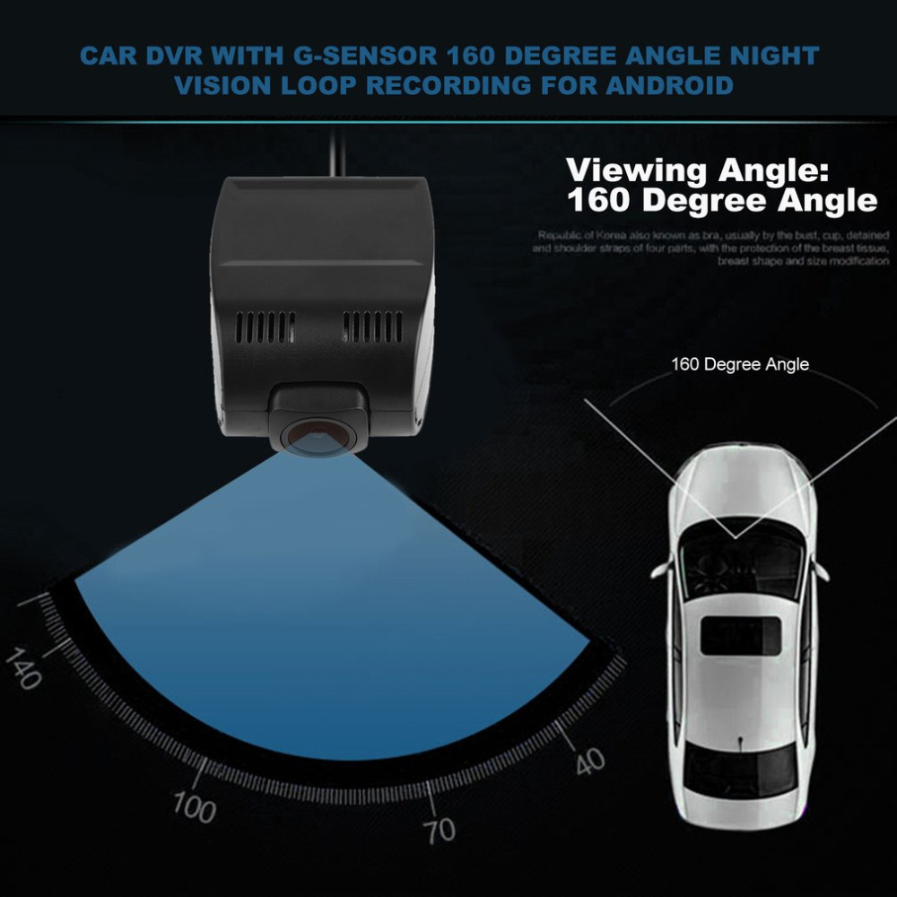 Newest Car DVR 160 Degree Angle Night Vision Loop Recording for Android Universal USB Tachograph with G-sensor Hot Selling
