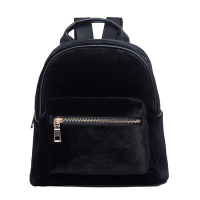 Fashion Rucksack Backpack Black Grey Purple Gold Velvet Small Fashion Women  Shoulder Bag Girl s Classic Style School Backpacks-in Backpacks from  Luggage ... dba27cdc0f963