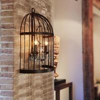Bird Cage Wall Lamps Retro Corridor Light Art Hotel Bar Villa Bedroom Balcony Black Iron Wall