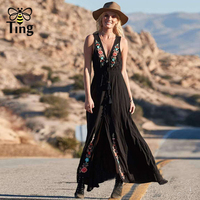 Tingfly Bohemian Embroidery Cotton and Linen Free Style Maxi Dress People Sexy Lace up Deep V neck Sleeveless Split Dresses