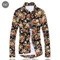 [Asiático Tamaño] 2016 Nuevos Hombres Camisas Flor Impresa de Manga Larga Camisa Ocasional de Los Hombres de Algodón Marca de Moda Camisas Chemise Homme 3XL Caliente