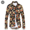 [Asian Size]2016 New Men Shirts Printed Flower Long Sleeve Men's Casual Shirt Fashion Brand Cotton Shirts Chemise Homme 3XL Hot