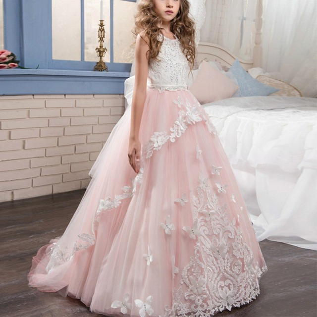 2018 New Fashion Flower Girl Princess Dress Puffy Tulle Trailing Gown for Kids  Wedding Bridesmaid Baby Kid Dress for Girls 2-13Y d8e78e55ae00