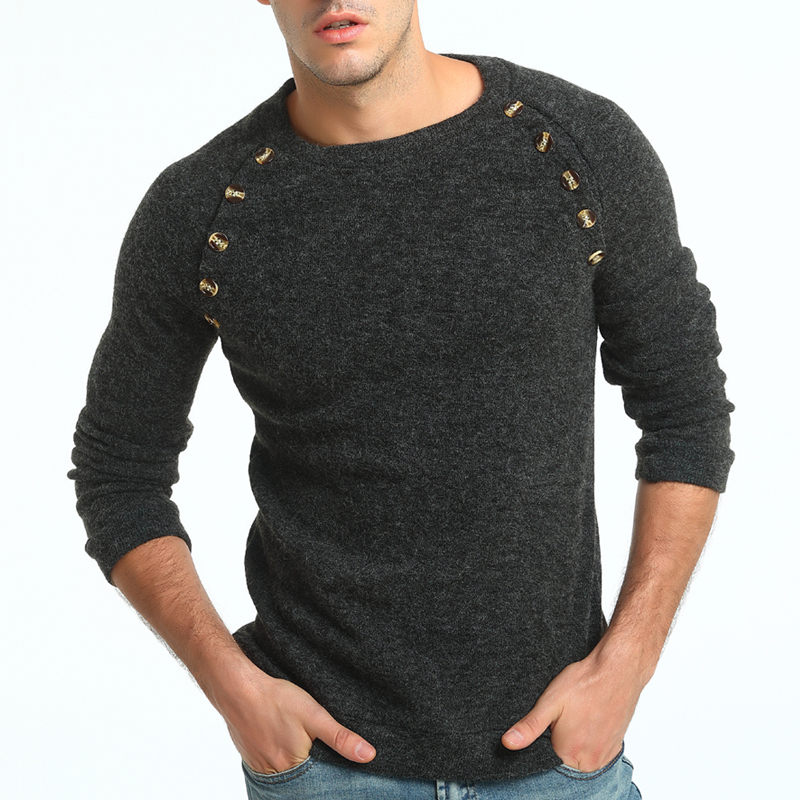Sweater Pullover Men 2018 Male Brand Casual Slim Sweaters Men Button Splicing Solid Color Hedging Turtleneck Men'S Sweater