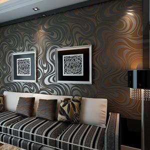 Image 2 - Moderne Abstrakte Luxus 3D Wallpaper Rolle Wand Beflockung Kurve Gestreiften Non Woven TV Sofa Hintergrund Wand Papier für Wände Lila
