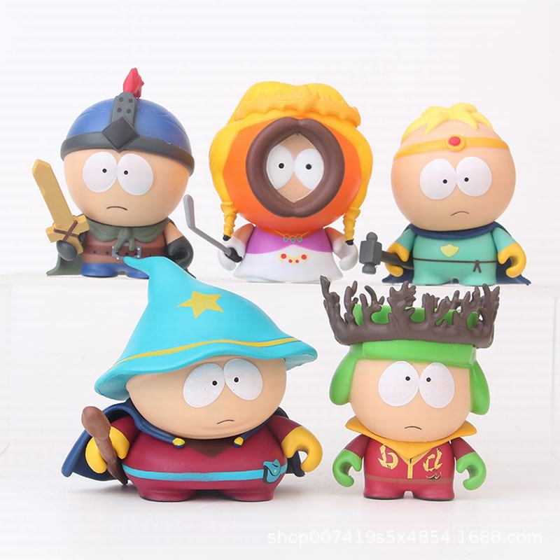 5Pcs/Set Anime 6cm The Stick Of Truth Stan Kyle Kenny Cartman PVC Action Figure Collectible Model Toys For Children Gifts