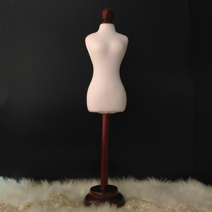 Demi-taille robe forme 1/4 robe forme Mannequin 1/4 vêtements drapant mannequin modèles de tissu robe forme avec bouton bois, M00019A