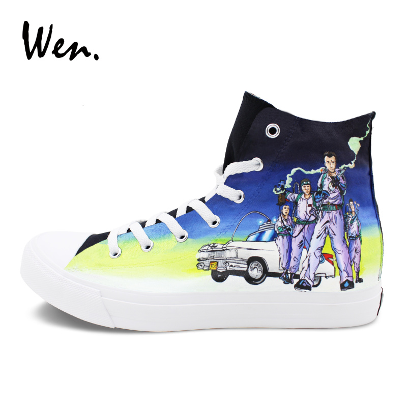 Wen High Top Sneakers Hand Painted Shoes Design Ghostbusters Classic Black Graffiti Shoes Flat Athletic Skateboarding Plimsolls wen sneakers colorful ice cream hand painted canvas shoes white high top plimsolls original design graffiti single shoes flat