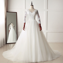 HIRE LNYER Three Quarter Sleeve Wedding Dress V-neck
