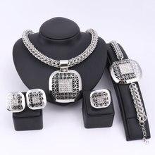 Manera de Los Granos Africanos Joyería Set Exquisito Dubai Plateado Plaza Crystal Jewelry Set Nigeriano Boda Nupcial Bijoux