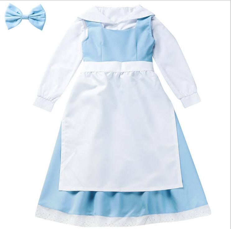 Kid Beauty And The Beast Belle Maid Dress Maid Cosplay Costume Girl Blue Full Set Dress ( Shirt + Dress + Apron + Headwear )