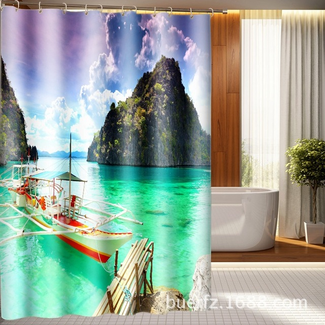 3D printed guilin Scenic shower curtain bathroom waterproof curtains ...