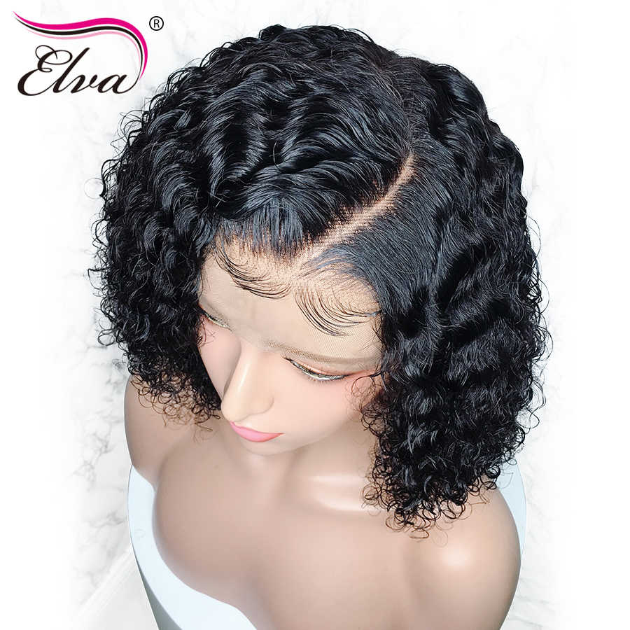 Brazilian 360 Lace Frontal Wig Pre Plucked With Baby Hair Elva Remy Human Hair Wigs For Women 150%/180%/250% Density Curly Wig