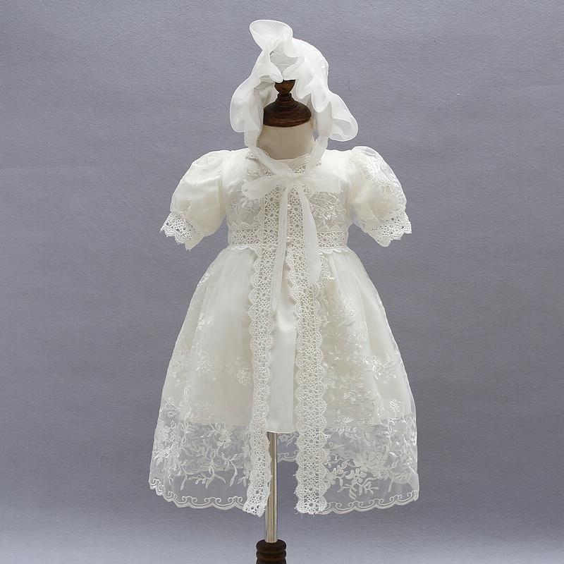 все цены на Newborn Toddler Baby Girls Dresses 3pcs Beige Baby Girl 1 Year Birthday Clothes Baptism Lace Christening Gown RBF174001 онлайн