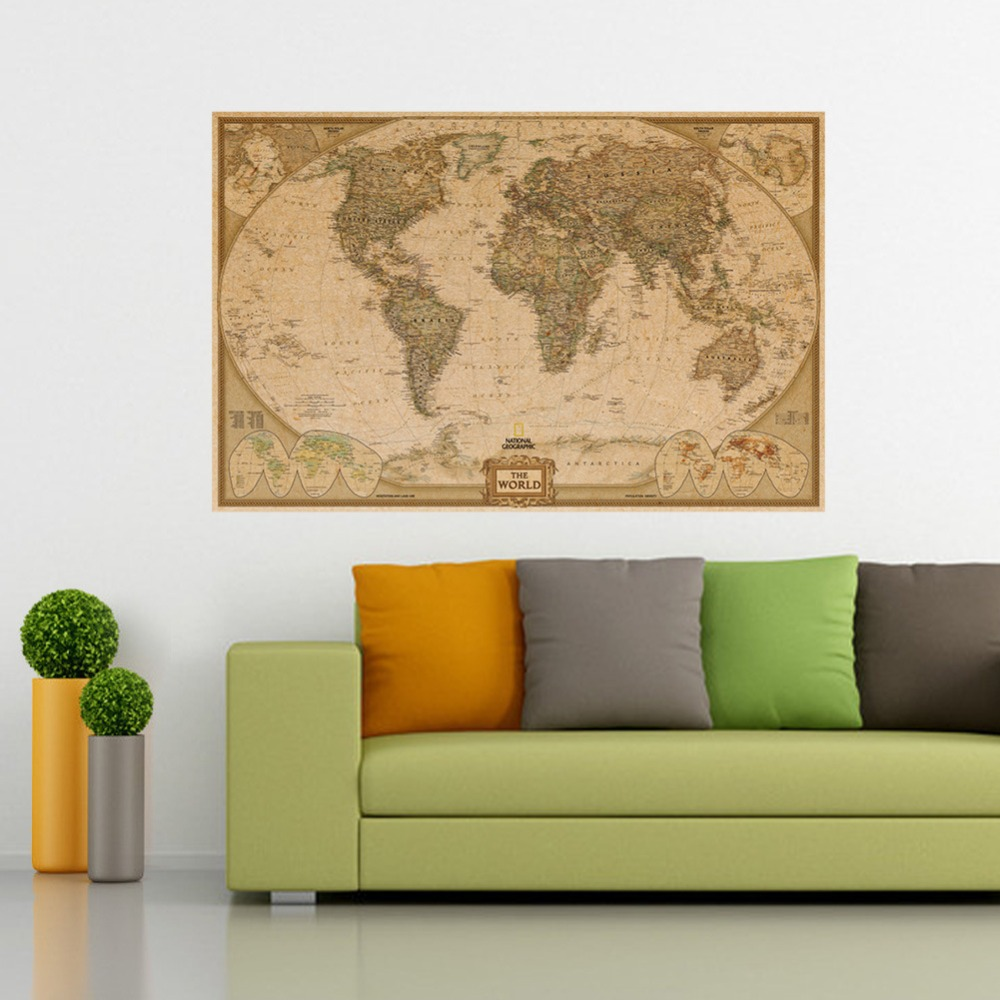 vintage retro papel kraft mate mapa del mundo antiguo cartel poster etiqueta de la pared
