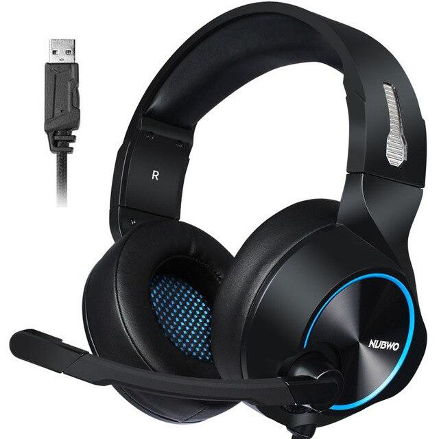 Auriculares para juegos, auriculares con sonido 7,1, auriculares USB con micrófono, graves, estéreo, ordenador portátil, marca NUBWO N11