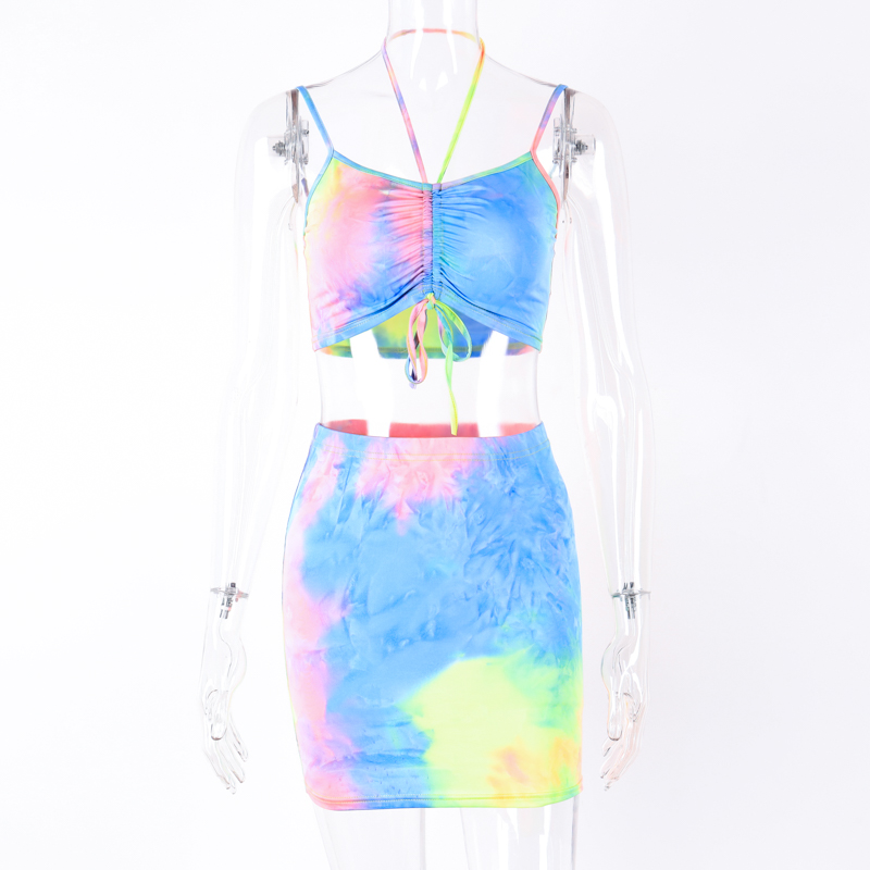 Hugcitar spaghetti straps tie dye print sexy camis skirt two 2 piece set 2019 summer women fashion party club holiday tracksuit 19