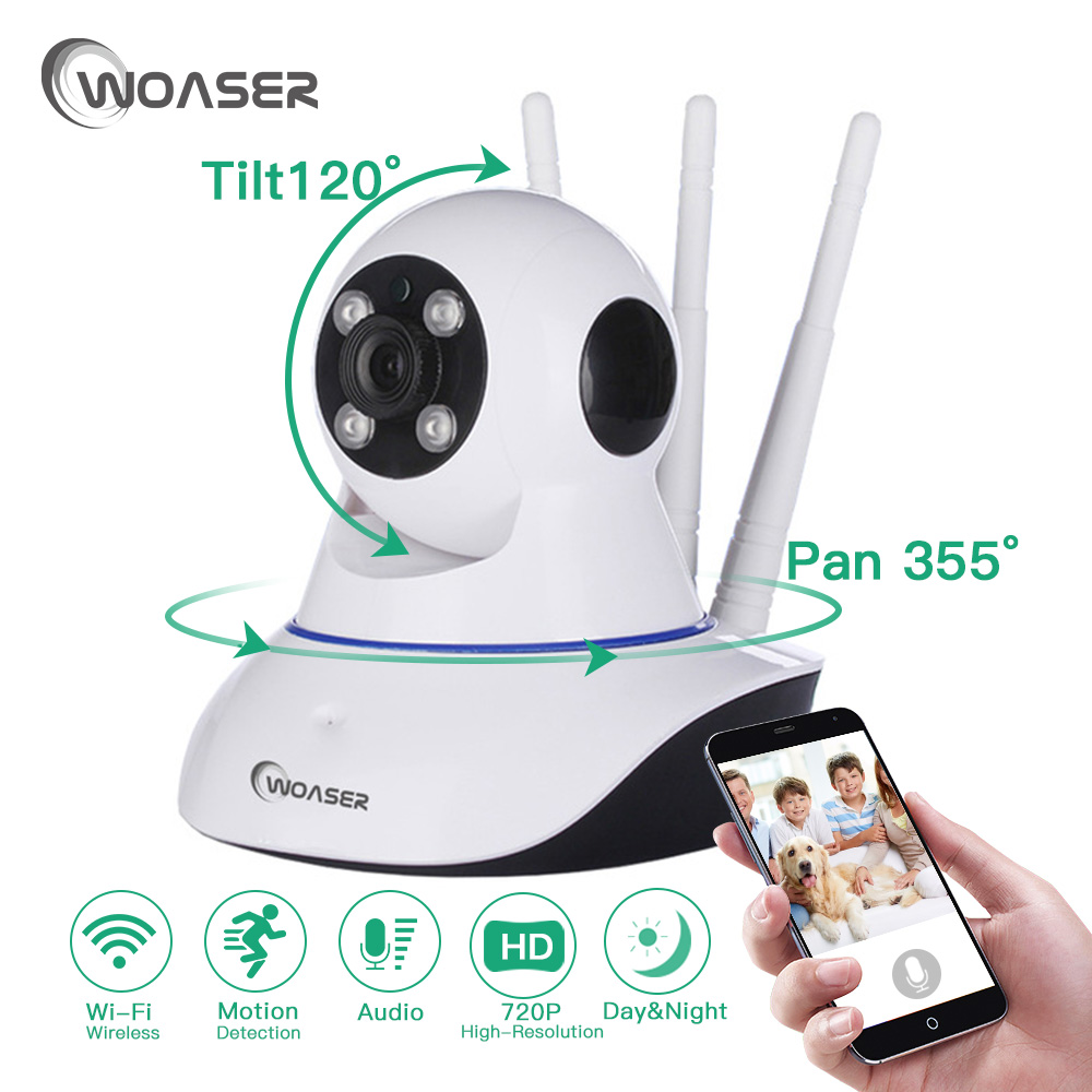 WOASER HD Wireless Wifi IP Camera 720P Night Vision Security Camera Surveillance Baby Monitor Night P2P network CCTV ip camera 720p hd wifi camera p2p wireless baby monitor security camera cloud storage night vision camera compatible with sensor detector