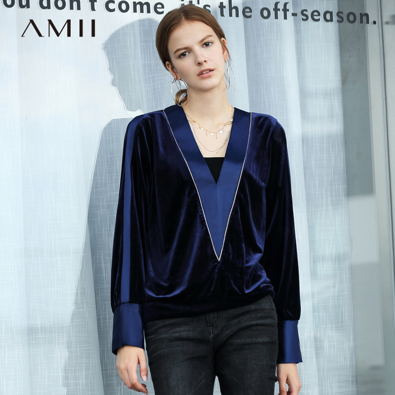Amii Minimalist Women V neck Blouse Autumn 2018 Sexy Patchwork Crash Color Lantern Sleeve Causal Female