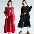 Ethnic Style Pregnant Woman Dress Cotton Linen Embroidery Spring Autumn Loose Maternity Clothes Long Pregnancy Dress CE323