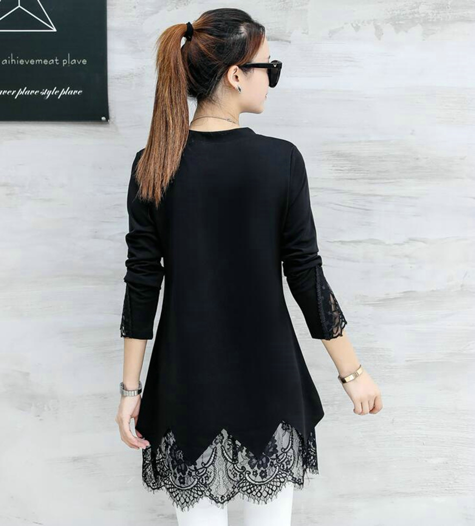 Tunic Plus Size 2018 Spring Autumn Fashion New Womens Long Sleeve Blouse Shirt Black Lace Long Tunic Tops for Women 040214