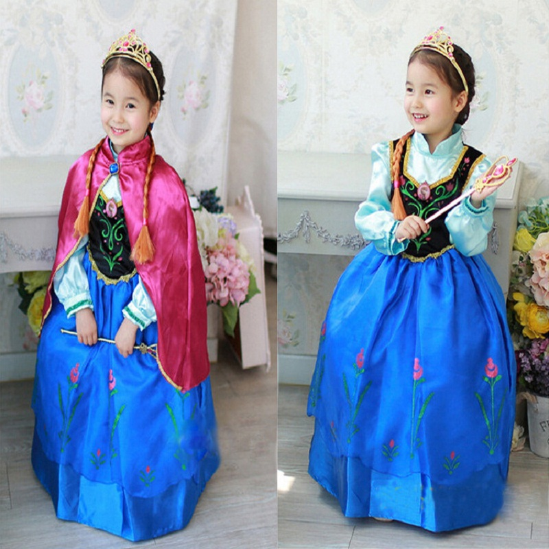 2019 Hot Sale Children Anna Cospaly Costume Dress Anna Princess Dress Kids Costume Party Fancy Snow Queen For Birthday Gift